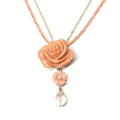 バラ珊瑚のピンクネックレス