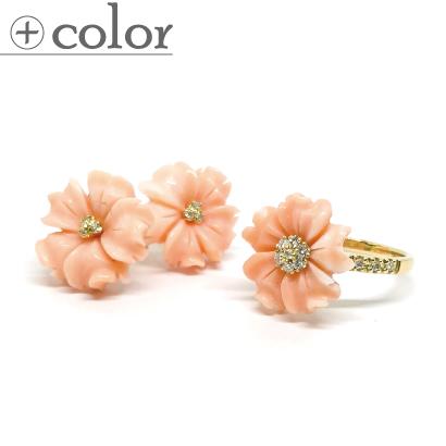 愛らしいピンクの花びら珊瑚リング&ピアス