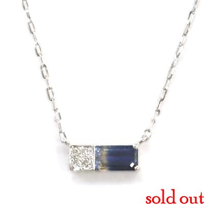 バイカラーサファイヤの横使いネックレス