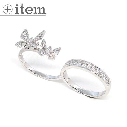 蝶が舞うダイヤのダブルリング