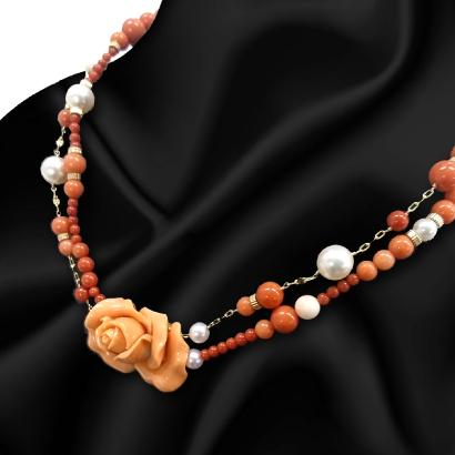 バラ珊瑚のチョーカーデザインネックレス