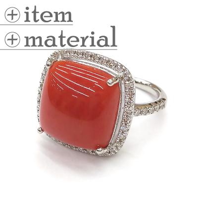スクエア珊瑚のダイヤ取り巻きリング