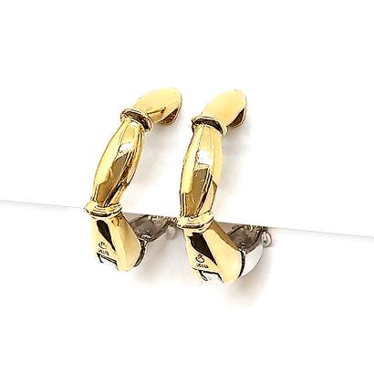 ダイヤと地金のバンブーリバーシブルイヤリング