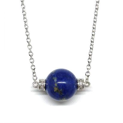 地球みたい!ラピスラズリの丸珠ネックレス