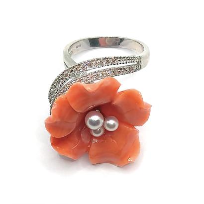 大きな花びら珊瑚のインパクトリング